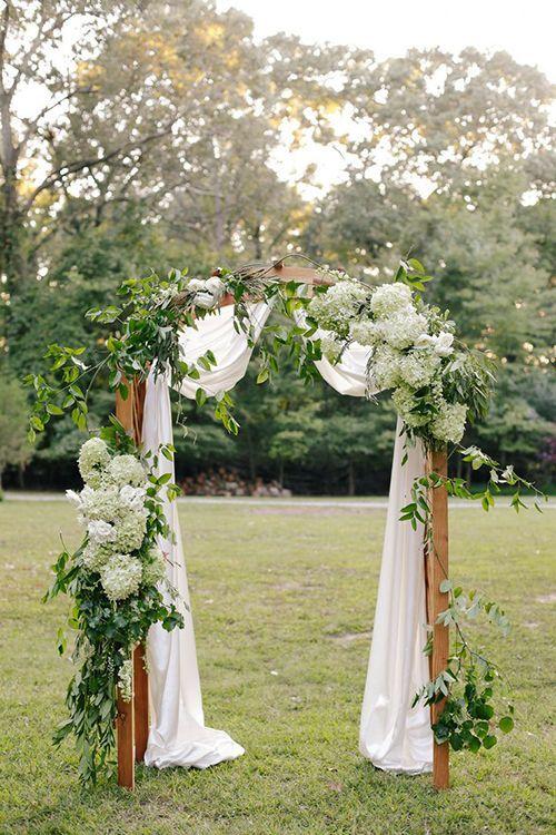 Ceremony arch with hydrangeas