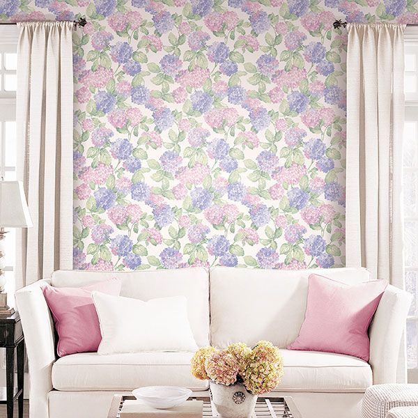 A classic Hydrangea design with a modern twist! From the English Florals Collection by Galerie - G34312R #galerie #homedecor #wallpaper #wallcovering #floral #interior
