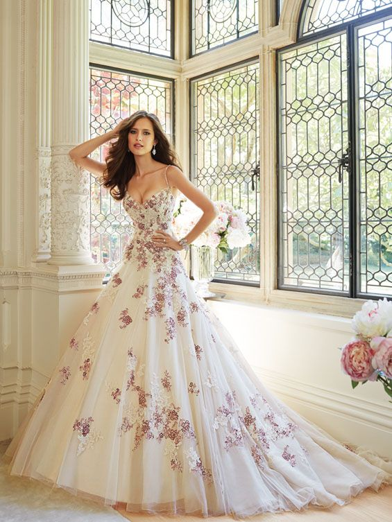 Beaded spaghetti straps frame the illusion-topped sweetheart neckline of  Sophia Tolli Geraldine Wedding Dress, boosting the dainty appeal of the  floral ... - 156 Best Colorful Wedding Dresses Images On Pinterest Wedding