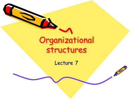 Organizational structures Lecture 7. Definitions of organizational structures…