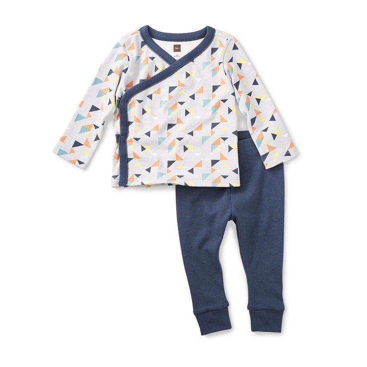 - Long sleeve baby wrap top - Matching pants - 100% cotton