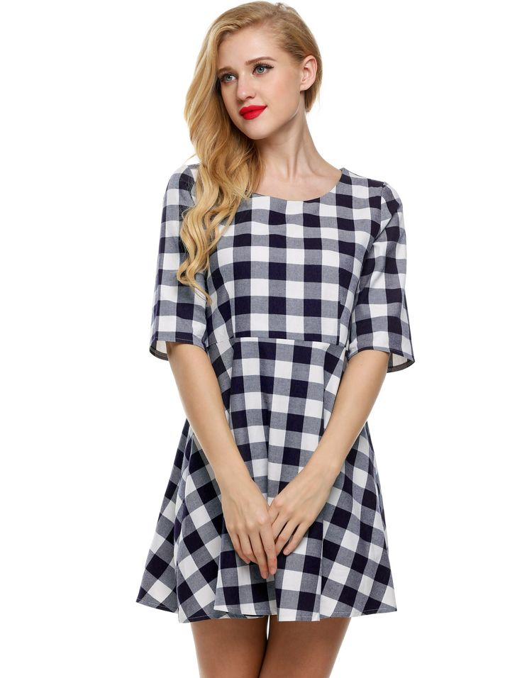 Blue & White O-Neck Half Sleeve Plaid High Waist A-Line Going Out Dress