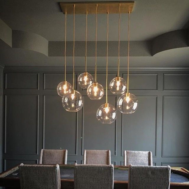 Sculptural Glass 7 Light Linear Chandelier S M Globe Gold Ombre Shade Brass Canopy Aff Modern Chandelier Dining Dining Room Lighting Dining Room Chandelier