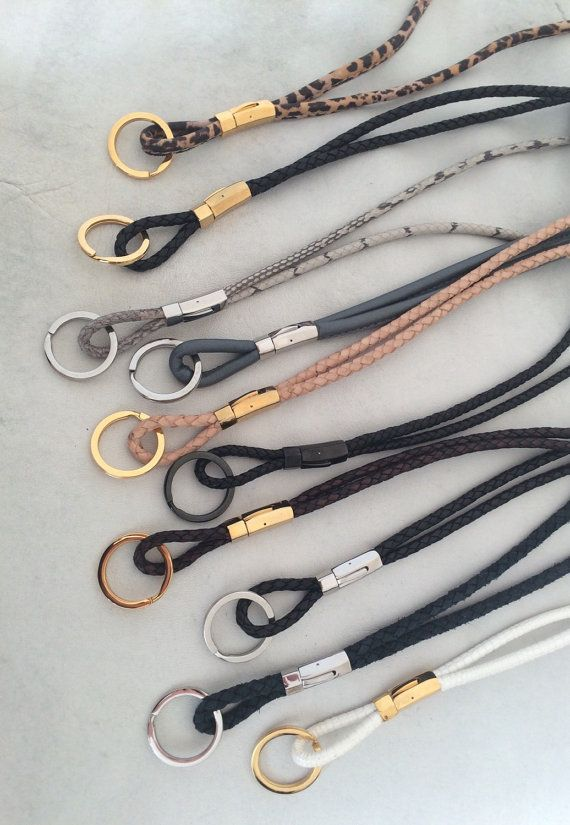 Lanyard keychain ID holder in braided black bolo by CassenDesign