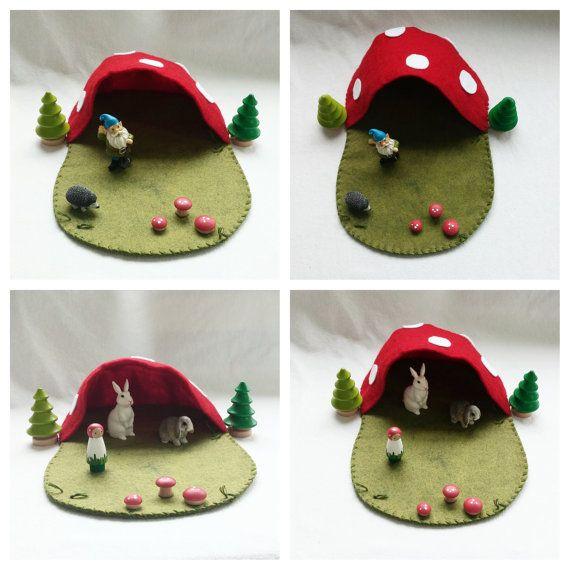 Mushroom Cave Fairy House Cottage Playscape Play Mat - wool felt storytelling fairytale - Dollhouse woodland fairy house