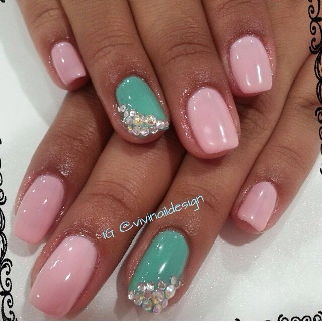 My nails with gel nail polish opi light pink and tiffany for Classy designs