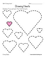 Drawing Hearts Worksheet: Trace each heart. Then Color the hearts. Information: Draw Shapes, Drawing Shapes, Shape, Heart
