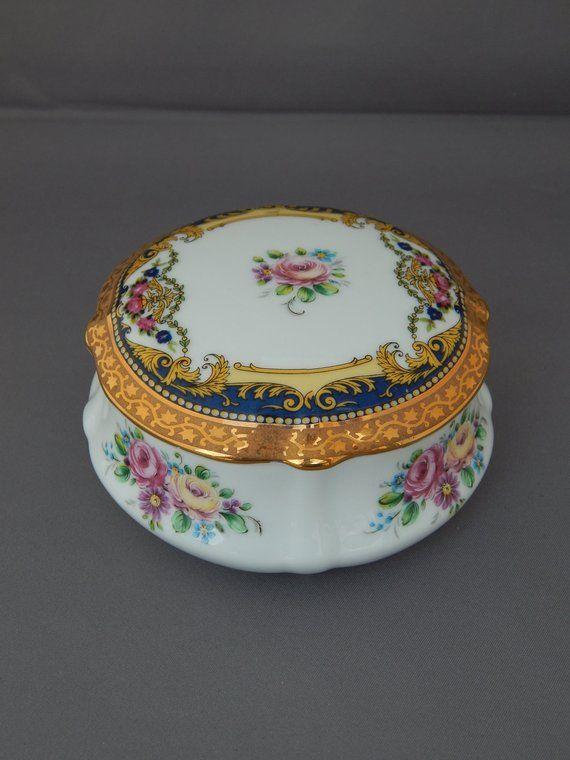 Vintage Limoges France Round Trinket Box 22k Gold Accented Etsy Trinket Boxes Limoges Porcelain