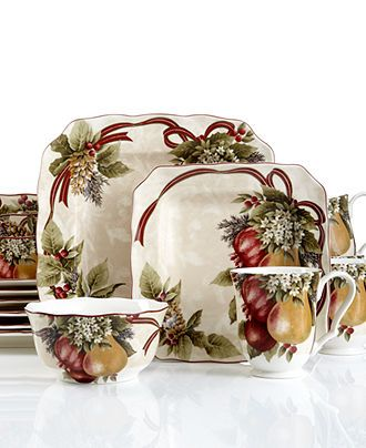 222 Fifth Dinnerware, Yuletide Celebration 16 Piece Set - Holiday Entertaining - Holiday Lane - Macy's