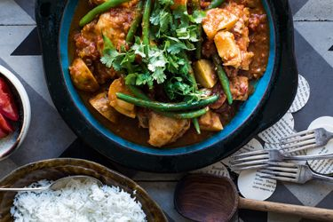 Southeast Asian chicken, bean and potato curry