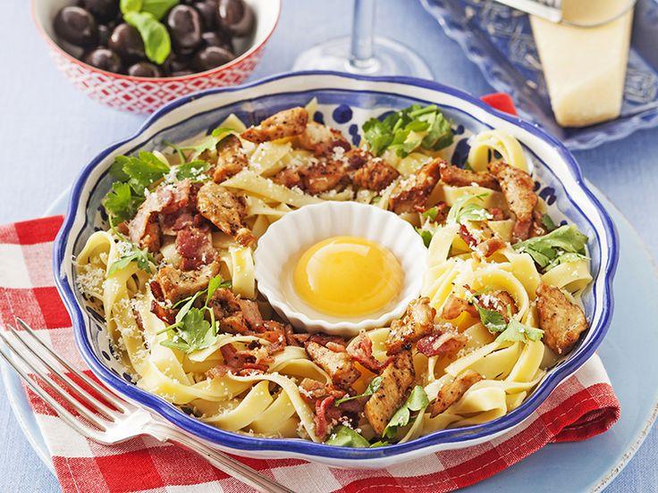 Pasta med kyckling och bacon