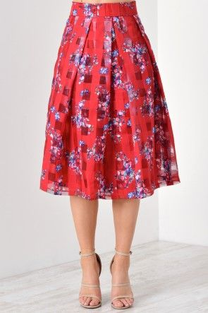 Kendra Mesh Floral Skirt in Red