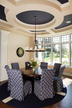 traditional dining room, navy ornate ceiling
