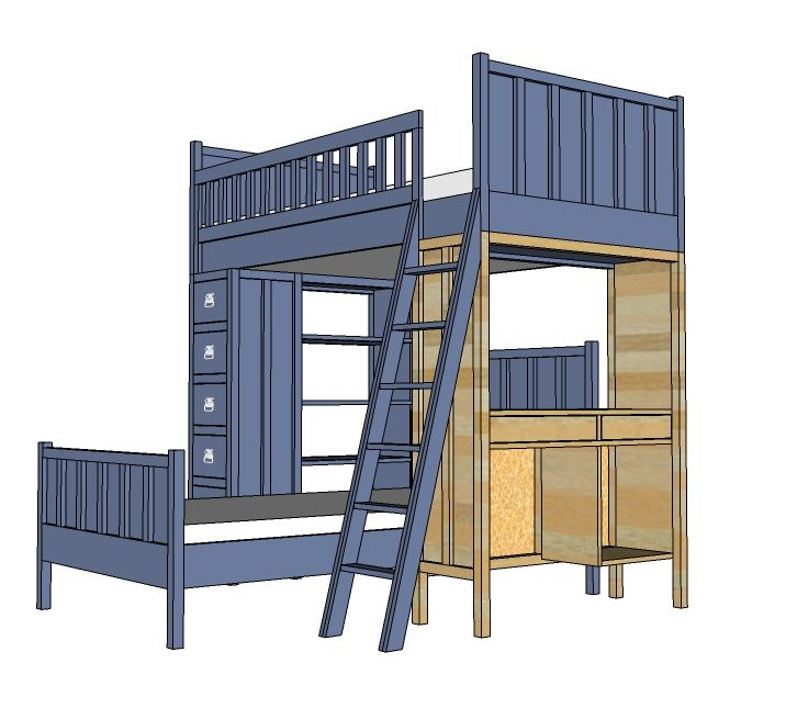 ana white build a cabin bunk system desk support free and easy diy