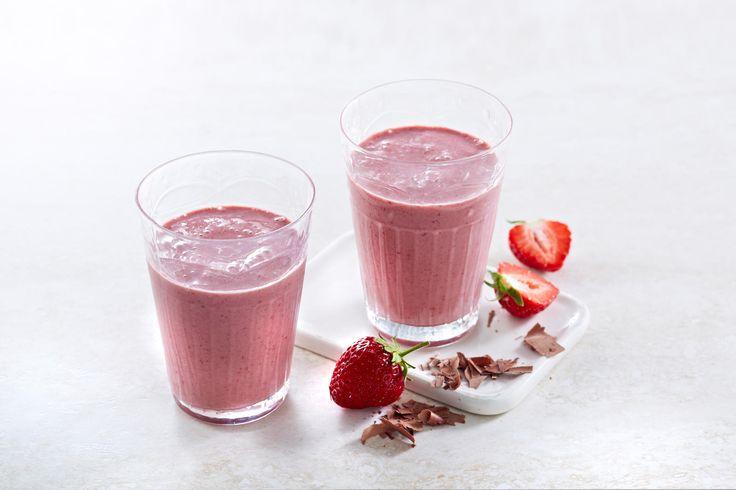 Sjokolade- og jordbærsmoothie - Melk.no