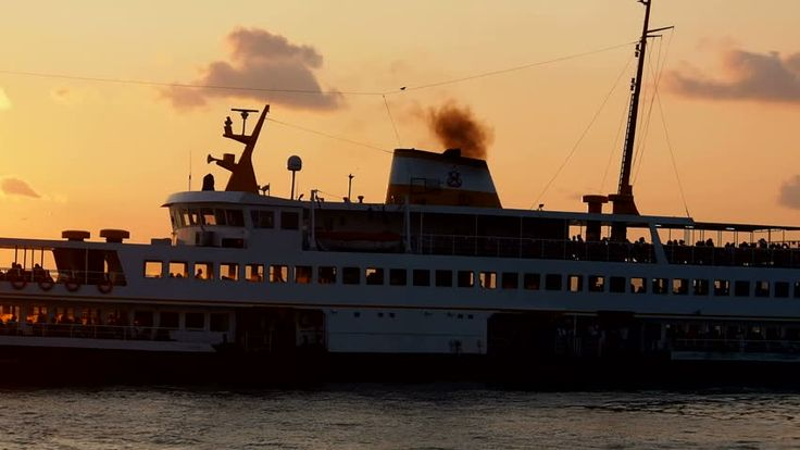Silhouette Of A Traditional Transportation Ship With Passengers At The Istanbul Stok Video Klip 18301126 - Shutterstock