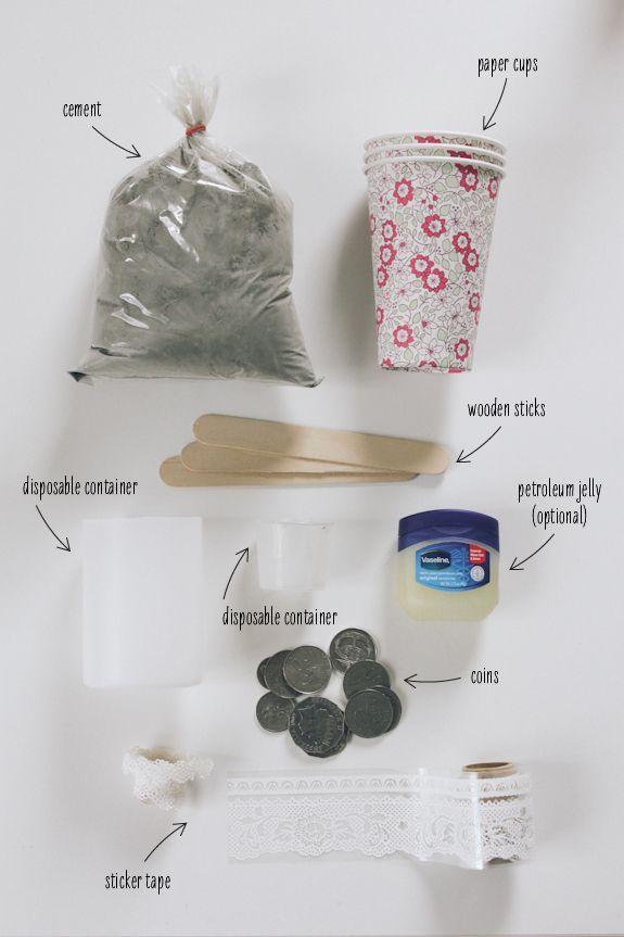 DIY Adorable Laced Cement Votives | Art & Design