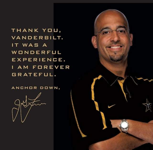 """Former Vanderbilt football coach James Franklin had some parting words for his former university in an ad Thursday in The Tennessean. The half-page ad in the Sports section read: His words: """"THANK YOU VANDERBILT. IT WAS A WONDERFUL EXPERIENCE. I AM FOREVER GRATEFUL. ANCHOR DOWN, JAMES FRANKLIN."""""""