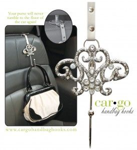 Car bling that adds space and protects your purse. - Cute idea, but my purse would probably snap this thing like a twig, lolol..