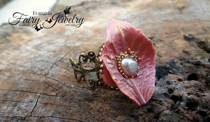 Anello foglia perla fiume fimo pasta polimerica bronzoregolabile filigrana ottone rosa antico, by Evangela Fairy Jewelry, 8,00 € su misshobby.com