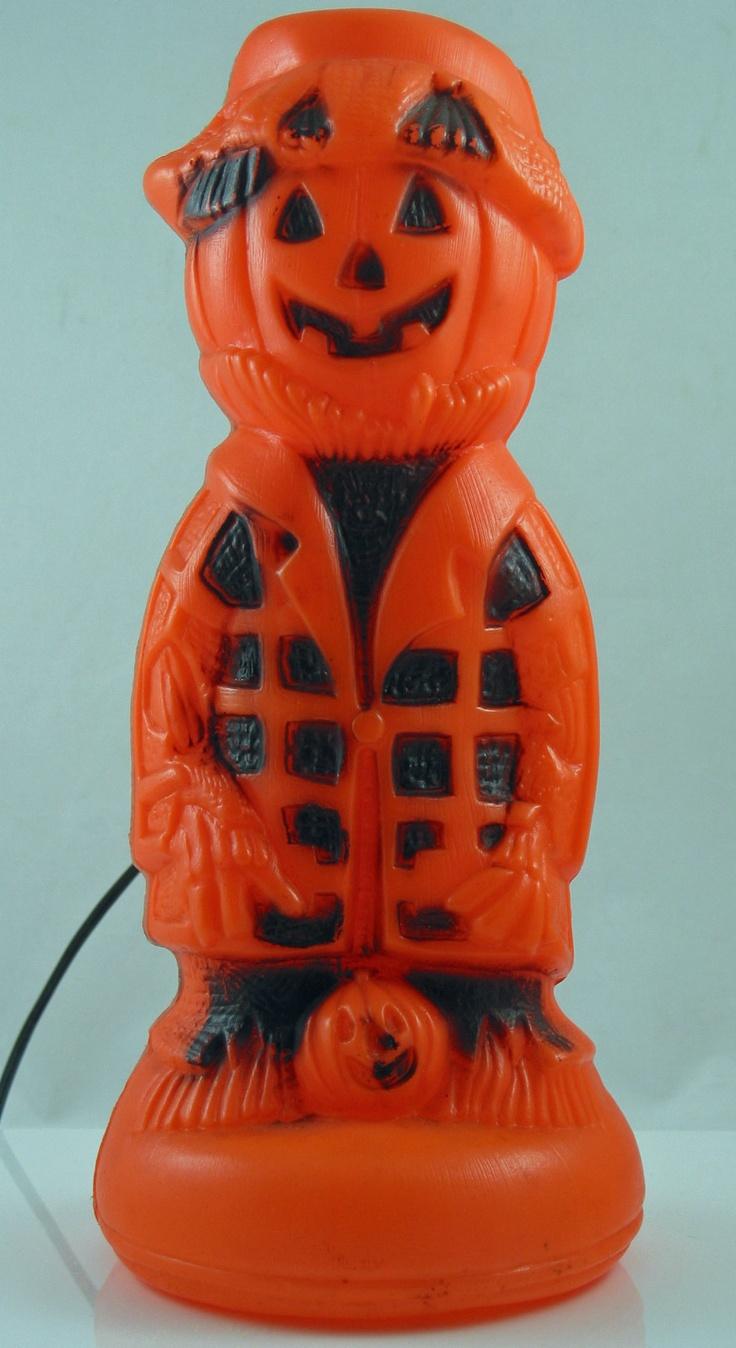 Vintage halloween decorations plastic - Vintage Halloween Plastic Blowmold Scarecrow Light Lamp Usa 1960s Ebay