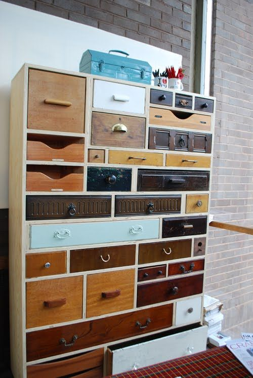 Upcycled drawers - love these! Do want. I like secret drawers for things.