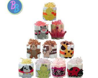 Mini tortas de pañales - Favor de regalo de la ducha del bebé, centro de mesa, única selva, Luna, náutica, sol, mariposa, dinosaurio