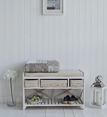 Cap Cod white wash shoe storage bench. Hall furniture for homes in coastal, Scandi, New England and French styles. Create a beautiful entrance way to your home.