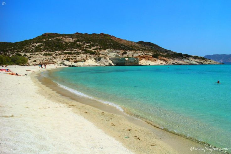 Prassa beach in Kimolos, Cyclades Islands White sands, crystal waters and few yachts moored near by