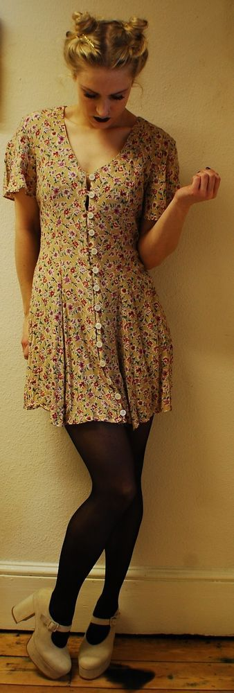 dress, vintage, grunge, 90s, spice girl, clueless, flowers, flared sleeves