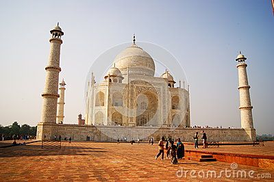 The Taj Mahal is a white marble mausoleum located on the southern bank of Yamuna River in the Indian city of Agra. It was commissioned in 1632 by the Mughal emperor Shah Jahan to house the tomb of his favorite wife of three, Mumtaz Mahal.