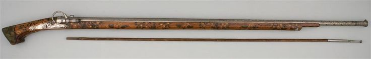 Rare Portuguese (Goa, India) Snap Matchlock Gun, ca. 1560, Dresden Museum (Rüstkammer), presented to the Saxon Elector Christian I. by Francesco I. de Medici, Grand Duke of Toscana, in 1587. Overall length 164.2 cm, barrel 136.3 cm, bore 13.8 mm, weight 6,320 g.