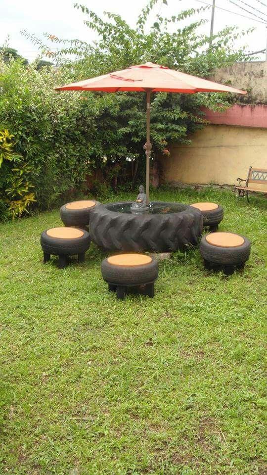Mesa para jardin reciclada con llantas