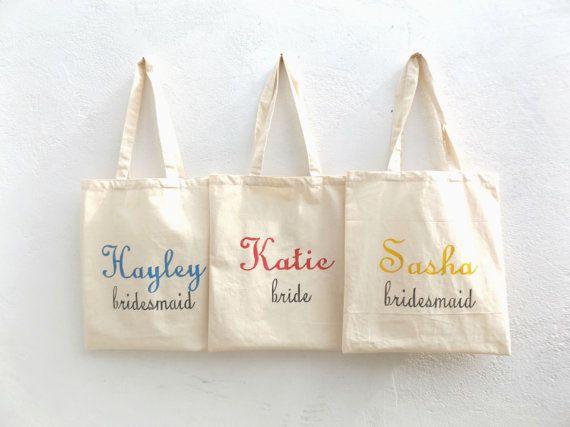 Personalised Bridesmaid Tote bag 1  Handpainted by MakeMemento