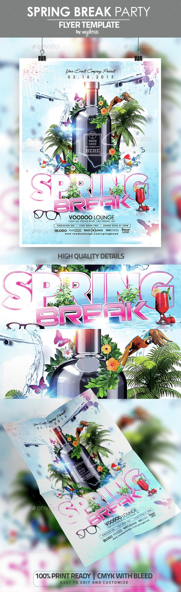 Spring Break Party Flyer / Poster Template,3d, ball, beach, break, butterflies, colorful, easter, flowers, gloss, graduation, modern, parrots, party, shine, sleek, sound, spring, summer, vacation, vibrant