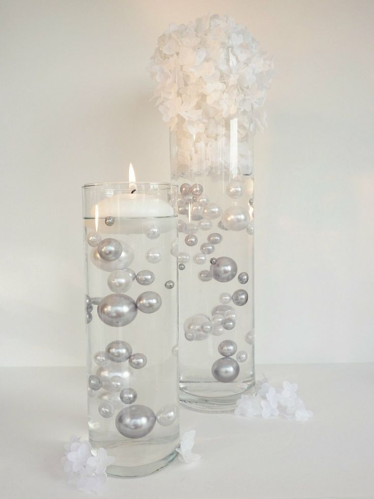 Amazon.com: Unique Jumbo & Assorted Sizes Silver Pearls & White Pearls Vase Fillers - 80Pc. Value Pack - The Transparent Water Gels that are floating the Pearls are sold separately......: Home & Kitchen