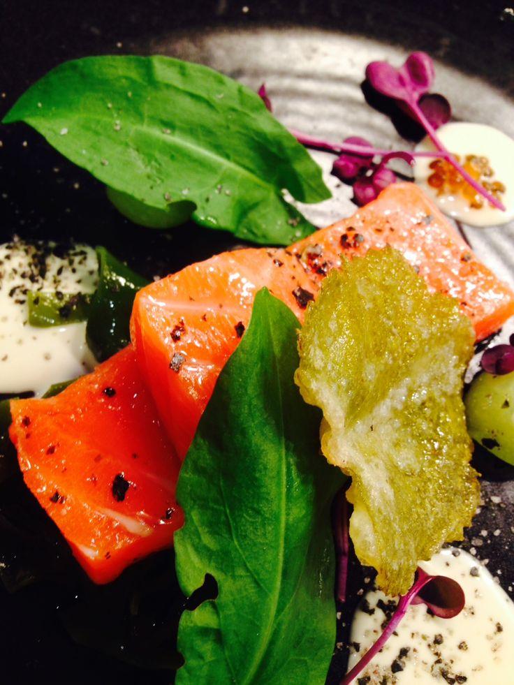 Confit Ocean Trout - pickled Tasmanian seaweeds, tempura vine leaf, ginger & miso dressing. SUMMER MENU #restaurantaustralia #tasmanianwine #discovertasmania #tastetasmania