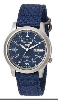 Seiko Men's SNK807 Seiko 5 Automatic Stainless Steel Watch with Blue Canvas Band $55.00 & FREE Shipping