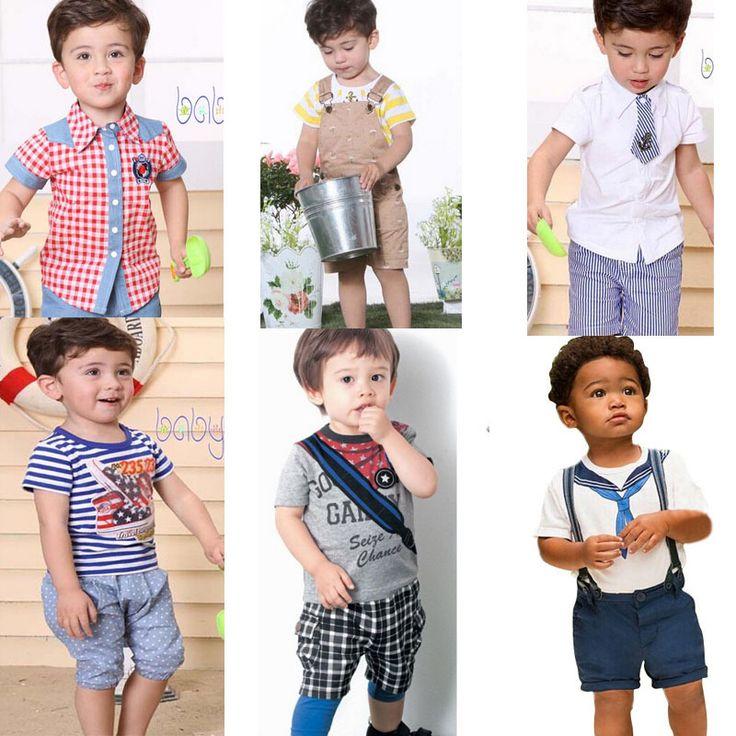 1-6Y Baby Boy Комплект Одежды Короткий Рукав Рубашки + Шорты дети Костюм 2016 Детская Одежда Ребенок Топы + брюки детские наборы