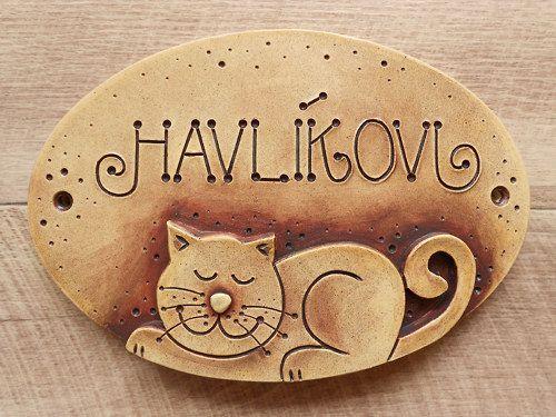 originální keramická jmenovka /kočička/