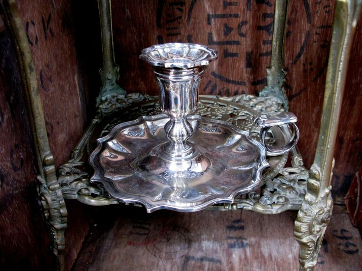 Silver Candle Plate, Vintage Candle Plate, Silver Candle Stick, Candle Holder, Candle Tray, Candle Plate, Chamber Candlestick, Bedroom by MissieMooVintageRoom on Etsy