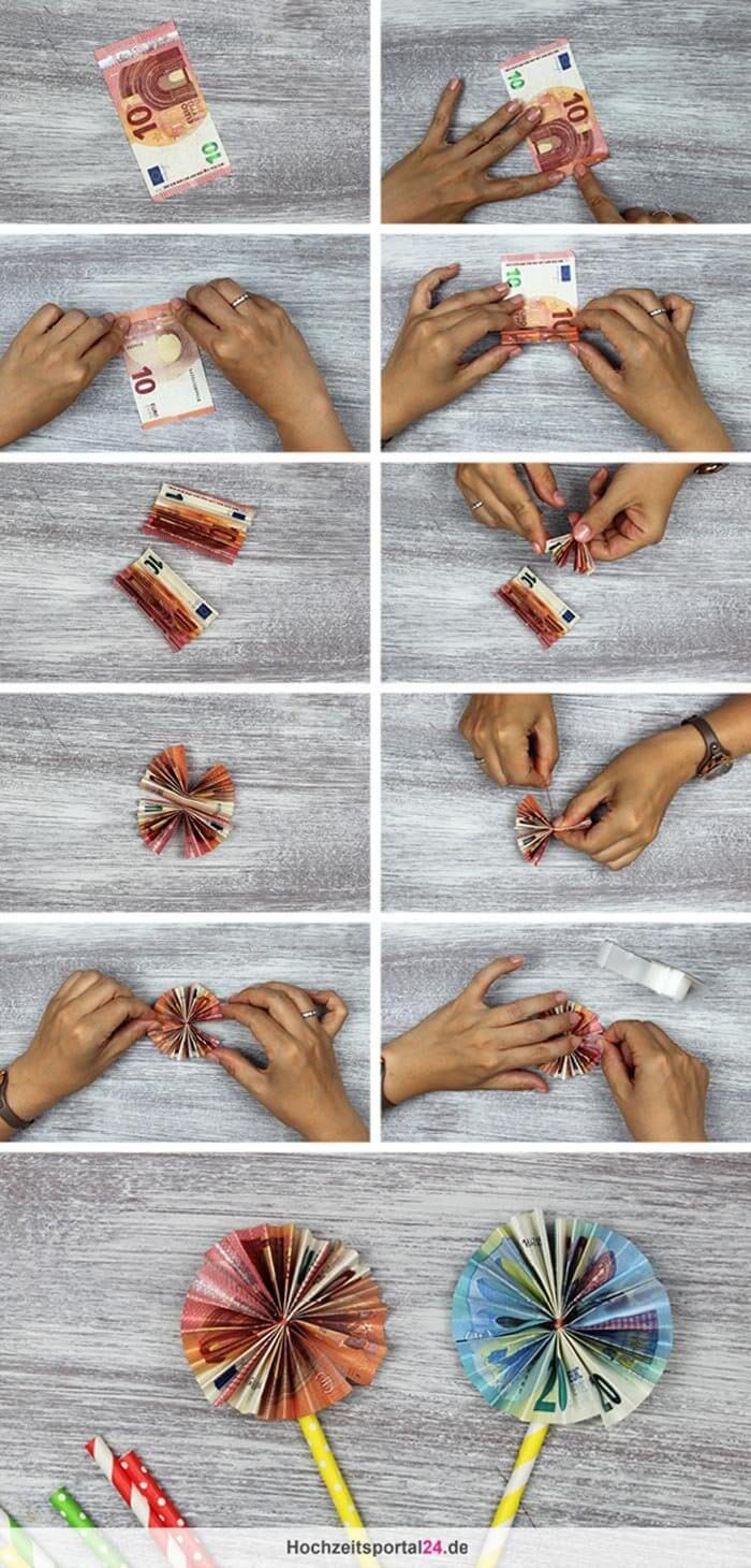 Schnelle Geldblumen basteln - mit dieser Schritt-für-Schritt Anleitung könnt ihr ein tolles Geldgeschenk zaubern.