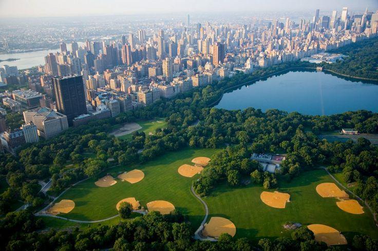 #ariel #view of my #urban #backyard : #Manhattan #Central #Park #baseball #reservoir #NYC