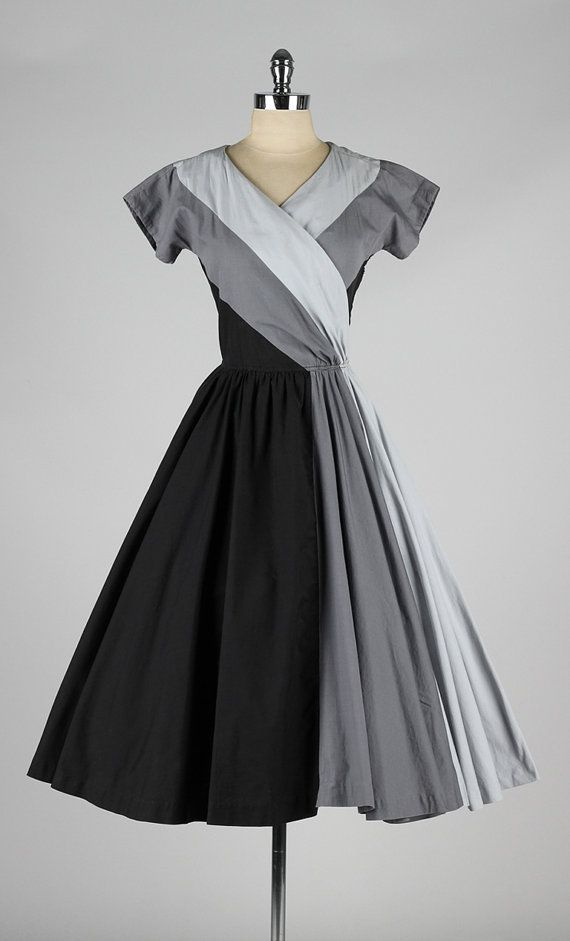 vintage 1950s dress . gray ombre cotton . by millstreetvintage
