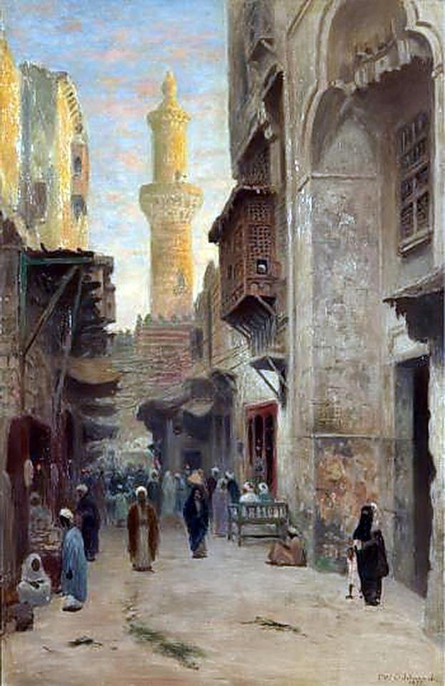Oriental street scene in Cairo,1899 By Frans Wilhelm Odelmark (Swedish, 1849-1937) Oil on canvas