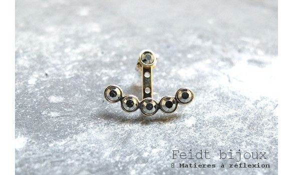 Feidt earcuff or jaune 9k marcassite #earcuff #or #gold #9k #feidt #piercing #jewels #jewelry #feidt #marcassite #lune #moon #madeinfrance