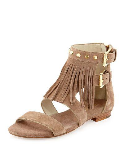 Billy Studded Fringe Sandal, Dk Khaki. Fringe SandalsShoes SandalsSummer  SandalsNeiman MarcusMichael Kors SandalsDark ...