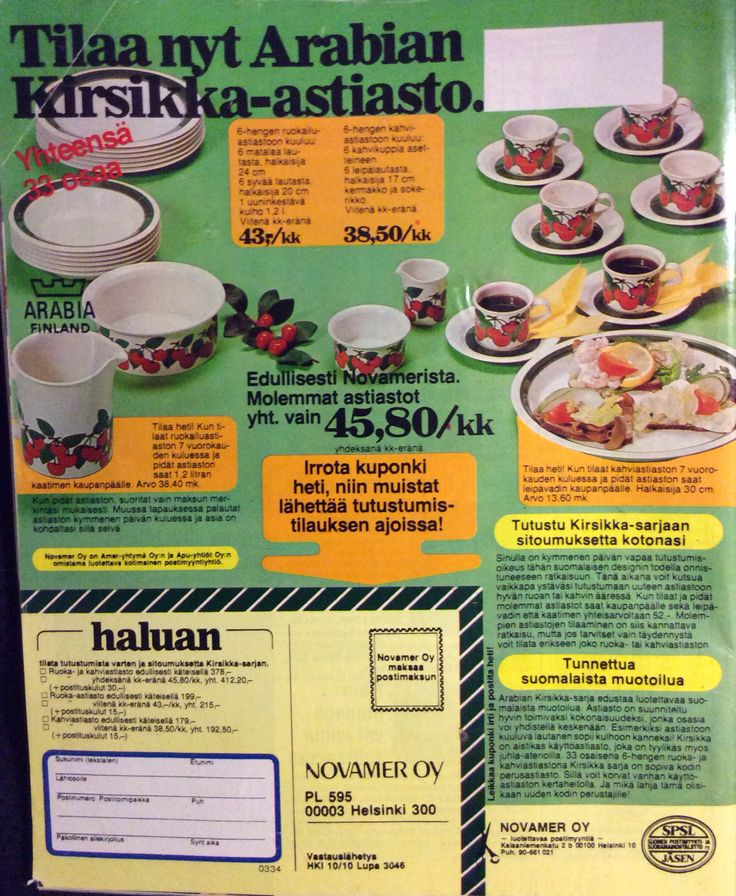 Arabian Kirsikka-astiasto (1978 Apu