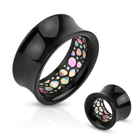 -Double Flared Saddle Abalone Interior Pattern Acrylic Tunnels Plugs Spacers Gauges - Ear Plugs and Tunnels - Pierced Universe