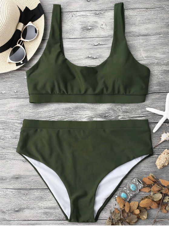AD : Midi Bralette Scoop Bikini Set - GREEN   A sporty midi bathing suit featuring pullover style bikini crop top and mid rise swim bottoms. It will surely keep you secure.  Swimwear Type: Bikini   Gender: For Women   Material: Polyester,Spandex   Bra Style: Padded   Support Type: Wire Free   Collar-line: Scoop Collar   Pattern Type: Solid   Waist: Natural   Elasticity: Elastic   Weight: 0.2000kg   Package: 1 x Top 1 x Bottoms